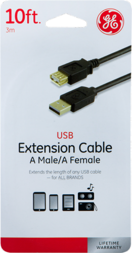 GE USB Extension Cable A Male and A Female - Black Perspective: front