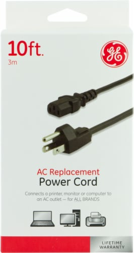GE AC Replacement Power Cord - Black Perspective: front