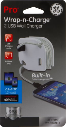GE Pro Wrap-N-Charge USB Wall Charger Perspective: front