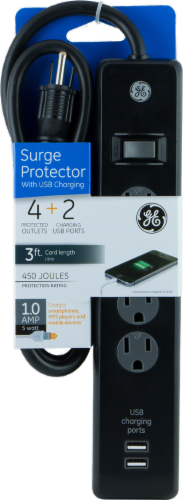 GE 4 Outlet and USB Charging Surge Protector - Black Perspective: front