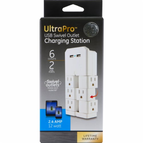 GE UltraPro 6-Outlet Dual Swivel USB Charging Station - White Perspective: front