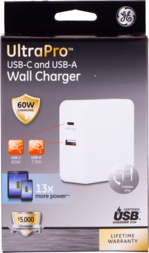 GE Dual Port USB-C & USB-A Laptop Wall Charger - White Perspective: front