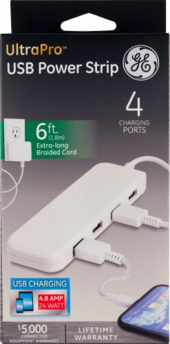GE UltraPro USB Power Strip - White Perspective: front