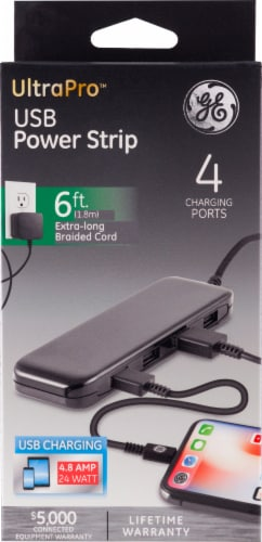 GE UltraPro USB Power Strip - Black Perspective: front