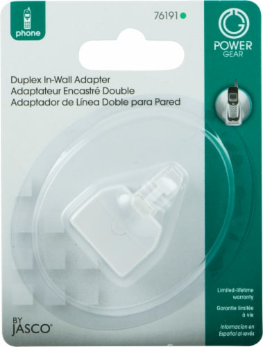 GE Duplex In-Wall Adapter - White Perspective: front