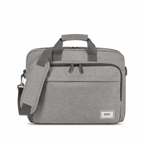 Solo Re:new Padded Briefcase - Gray Perspective: front