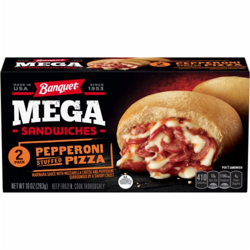 Banquet Mega Sandwiches Pepperoni Stuffed Pizza Perspective: front