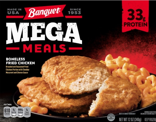 Banquet Mega Meals Boneless Fried Chicken Frozen Meal Perspective: front