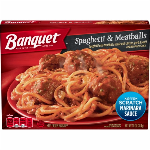 Banquet Spaghetti & Meatballs Frozen Meal Perspective: front