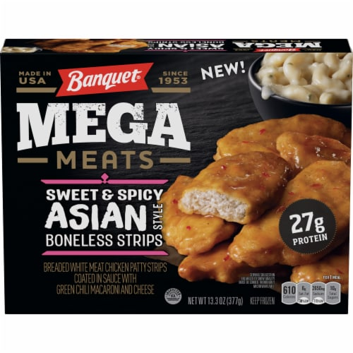 Banquet Mega Meats Sweet and Spicy Asian Style Boneless Chicken Strips Frozen Meal Perspective: front