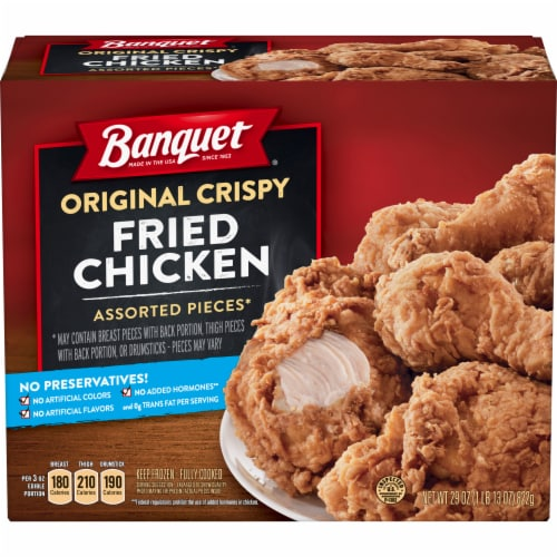 Banquet Original Crispy Fried Chicken Assorted Pieces Frozen Family Meal Perspective: front