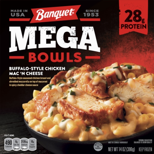 Banquet Mega Bowls Buffalo-Style Chicken Mac 'n Cheese Frozen Meal Perspective: front
