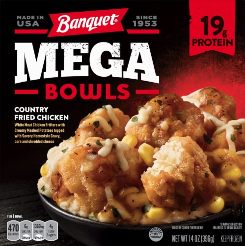 Banquet Mega Bowls Country Fried Chicken Frozen Meal Perspective: front