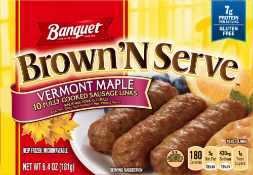 Banquet Brown'N Serve Vermont Maple Sausage Links Perspective: front