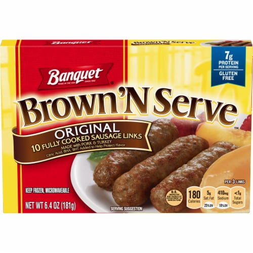Banquet Brown'N Serve Original Sausage Links 10 Count Perspective: front