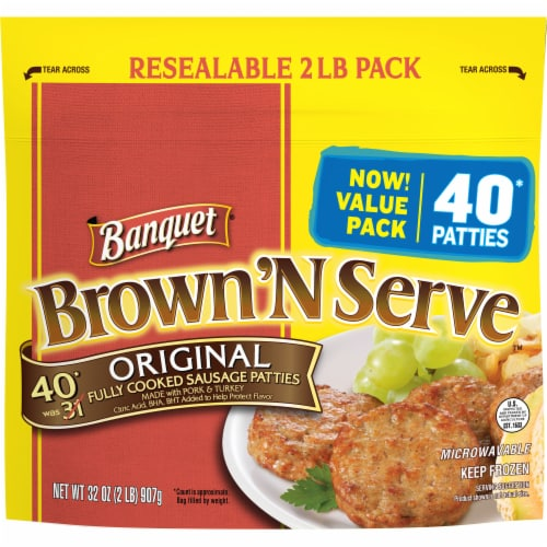 Banquet Brown'N Serve Original Fully Cooked Sausage Patties Perspective: front