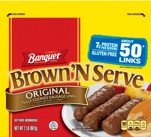 Banquet Brown'N Serve Original Fully Cooked Frozen Sausage Links Perspective: front
