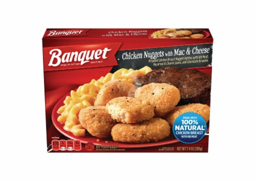 Banquet Chicken Nuggets with Mac & Cheese Meal Perspective: front
