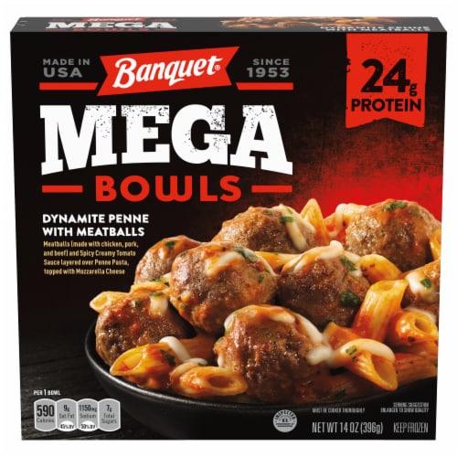 Banquet Mega Bowls Dynamite Penne & Meatballs Dinner Perspective: front