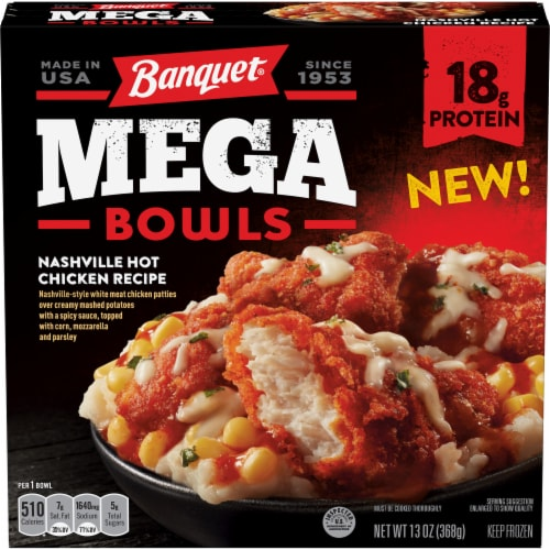 Banquet Mega Bowls Nashville Hot Chicken Recipe Frozen Meal Perspective: front