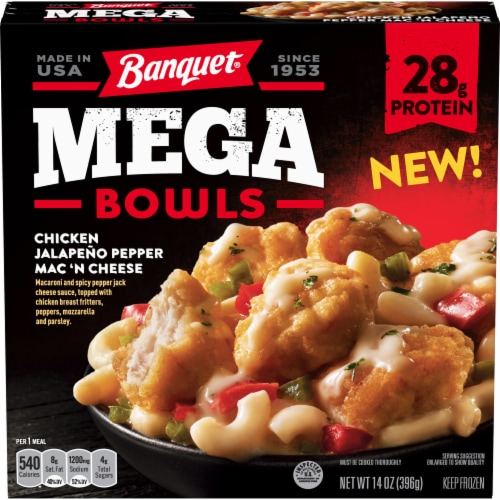 Banquet Mega Bowls Chicken Jalapeno Pepper Mac 'N Cheese Frozen Meal Perspective: front