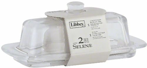 Libbey Glass Butter Dish with Lid - Clear Perspective: front