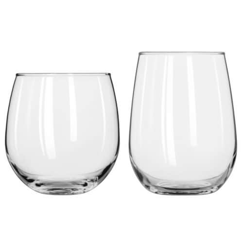 Libbey Stemless Wine Glass Party Set Perspective: front