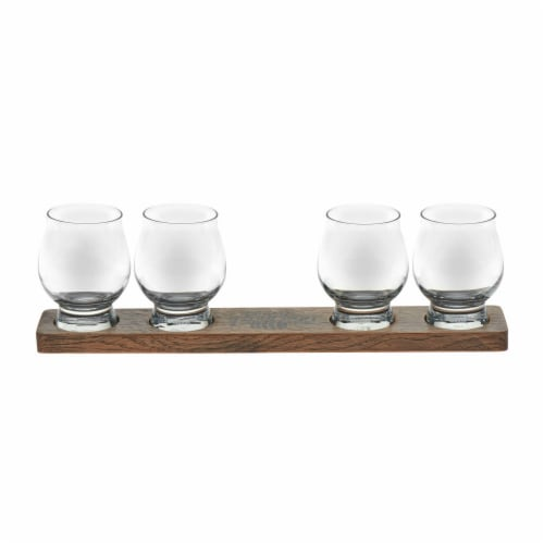 Libbey Whiskey Glasses with Wood Paddle Set Perspective: front