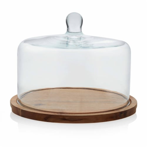 Libbey Acaciawood Flat Round Wood Server Cake Stand with Glass Dome Perspective: front