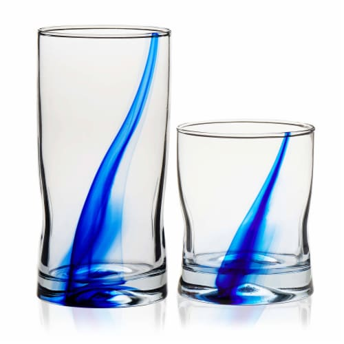 Libbey Blue Ribbon Impressions Tumbler and Rocks Glass Set Perspective: front