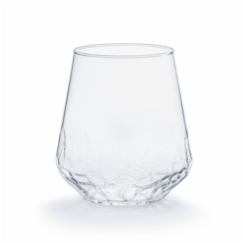 Libbey Hammered Base All-Purpose Stemless Wine Glasses Perspective: front