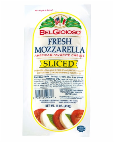 BelGioioso Sliced Fresh Mozzarella Cheese Perspective: front