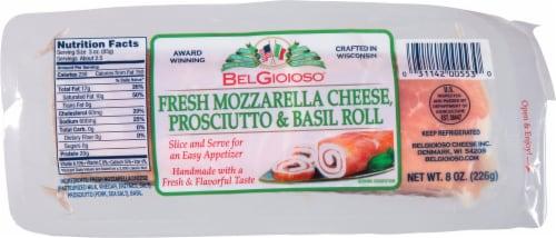 BelGioioso Fresh Mozzarella Cheese Prosciutto & Basil Roll Perspective: front