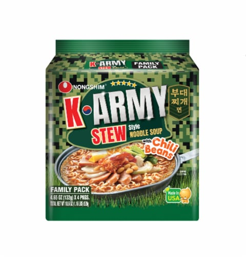 Nongshim K-Army Stew Noodle Soup 4 Count Perspective: front