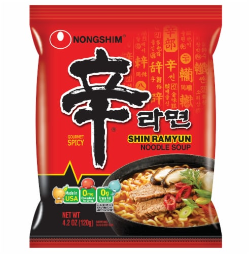 Nongshim Shin Ramyun Hot & Spicy Noodle Soup Perspective: front