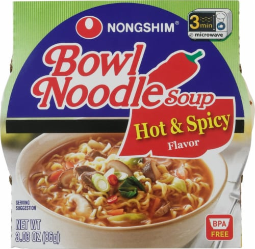 Nongshim Hot & Spicy Bowl Noodle Soup Perspective: front