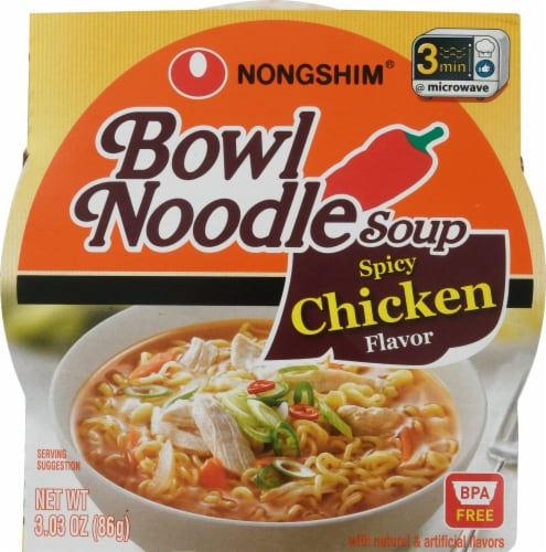 Nongshim Spicy Chicken Flavor Bowl Noodle Soup Perspective: front