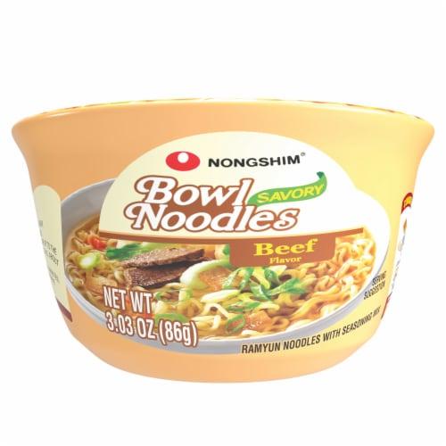 Nongshim Beef Flavor Bowl Noodle Soup Perspective: front