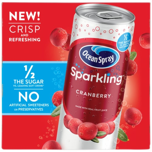 Ocean Spray Sparkling Cranberry Juice Cocktail 4 Cans Perspective: front
