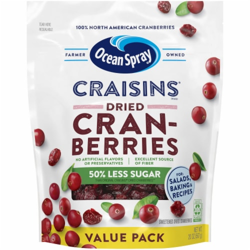 Ocean Spray Reduced Sugar Craisins Dried Cranberries Perspective: front