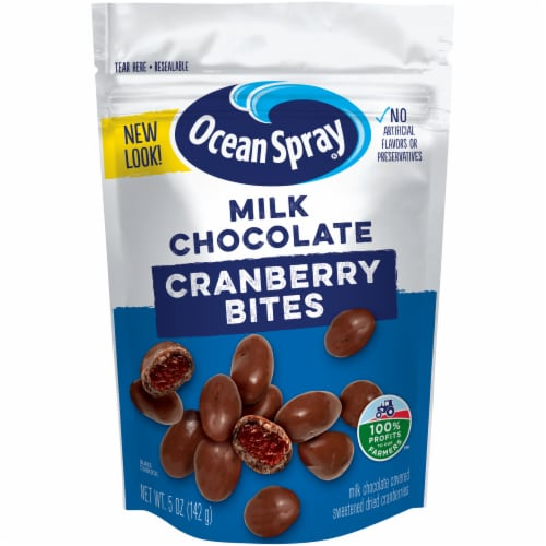 Ocean Spray Craisins Milk Chocolate Covered Sweetened Dried Cranberries Perspective: front