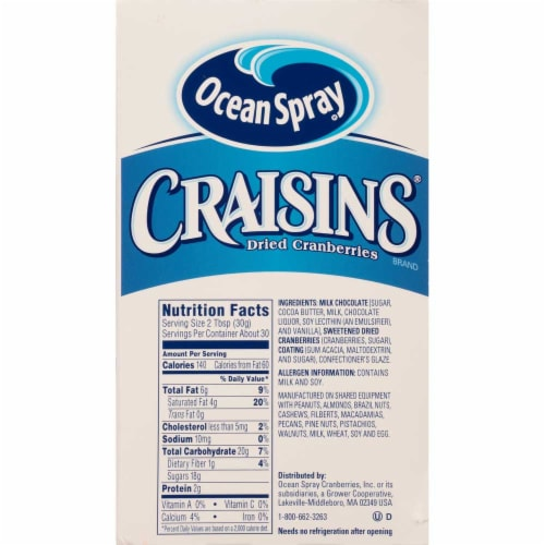 Ocean Spray Craisins Milk Chocolate Covered Dried Cranberries, 3 Ounce -- 40 per case. Perspective: front