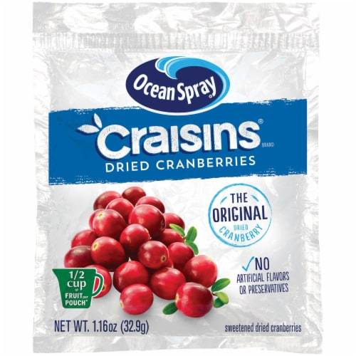 Ocean Spray Original Craisins Dried Cranberries, 1.16 Ounce -- 200 per case. Perspective: front