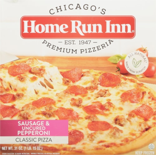 """Home Run Inn 12"""" Classic Sausage & Uncured Pepperoni Pizza Perspective: front"""