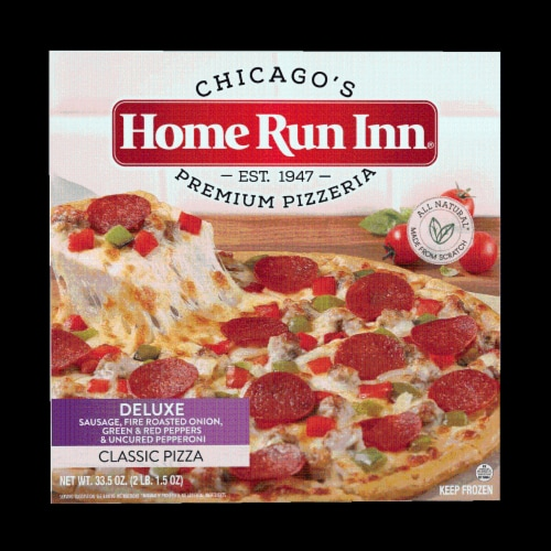 Home Run Inn Deluxe Sausage Fire Roasted Vegetables & Uncured Pepperoni Signature Pizza Perspective: front