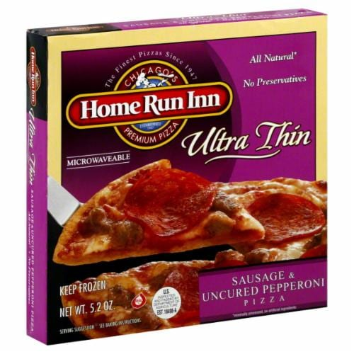 """Home Run Inn 6"""" Ultra Thin Sausage & Uncured Pepperoni Pizza Perspective: front"""