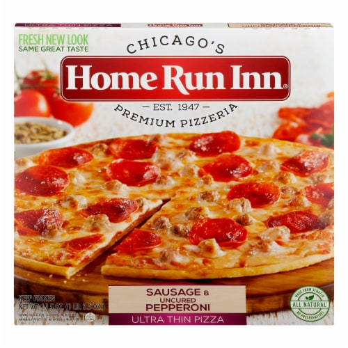 Home Run Inn Ultra Thin Sausage & Uncured Pepperoni Pizza Perspective: front