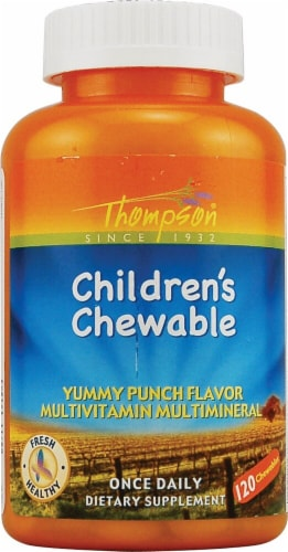 Thompson Children's Punch Flavor Chewable Multivitamin 120 Count Perspective: front