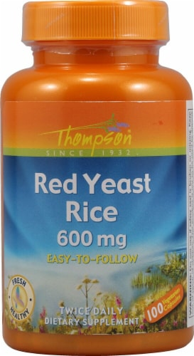Thompson Red Yeast Rice Vegetarian Capsules 600 mg Perspective: front