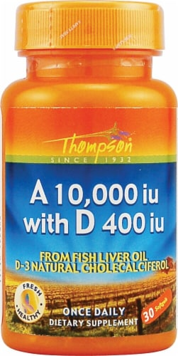 Thompson  Vitamin A 10000 IU with D  Softgels 400 IU Perspective: front